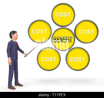 Cost Vs Benefit Businessman Means Comparing Price Against Value. Return On Investment Or Balancing Gain - 3d Illustration - Stock Image