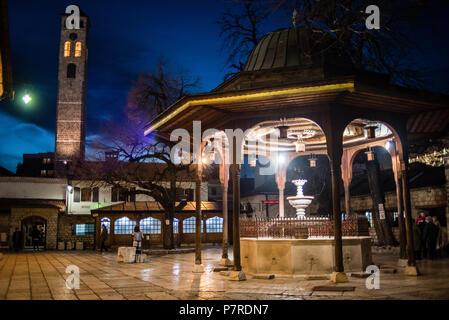 Courtyard of Gazi Husrev-beg Mosque in Sarajevo, Bosnia and Herzegovina - Stock Image