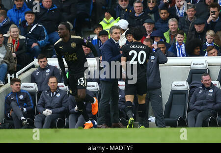 Japanese forward Shinji Okazaki of Leicester is substituted by Leicester manager Claude Puel during the Premier League match between Brighton and Hove Albion and Leicester City at the American Express Community Stadium in Brighton and Hove. 31 Mar 2018 *** Editorial use only. No merchandising. For Football images FA and Premier League restrictions apply inc. no internet/mobile usage without FAPL license - for details contact Football Dataco *** - Stock Image