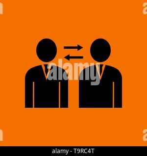 Corporate Interaction Icon. Black on Orange Background. Vector Illustration. - Stock Image