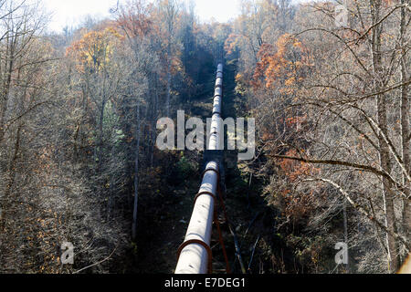 Water supply aqueduct in the mountains near Glenville, North Carolina along scenic highway NC 107, USA. - Stock Image