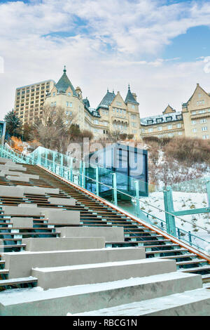 The funicular in Edmonton's river valley is a free public outdoor inclined elevator that takes visitors from downtown to a promenade overlooking the L - Stock Image