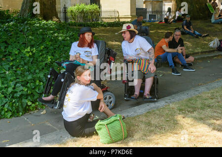 London, UK. 6th July 2018. Medical cannabils users in wheelchairs at the protest by members of the group 'We The Undersigned Have a Legal Right to use Cannabis' in Old Palace Yard in support of Newport West Labour MP Paul Flynn's Private Member's Bill to allow the medical use of cannabis which was expected to be debated this afternoon. Objections by MPs prevented the debate and it was pushed back until October. Credit: Peter Marshall/Alamy Live News - Stock Image