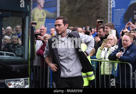Derby manager Frank Lampard arrives for the FA Cup 5th round match between Brighton & Hove Albion and Derby County at the American Express Community Stadium . 16 February 2019 - Stock Image