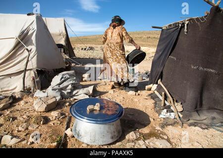 Daily life activities at Qashqai camp, nomad people, Iran - Stock Image