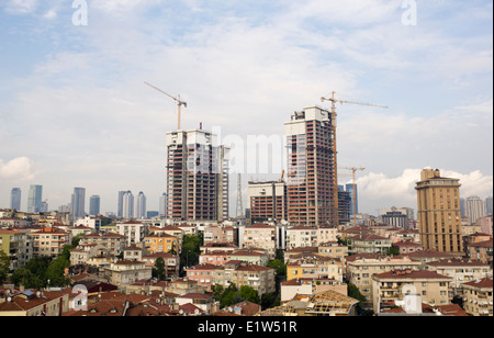 New apartments under construction in Şişli district in Istanbul Turkey - Stock Image