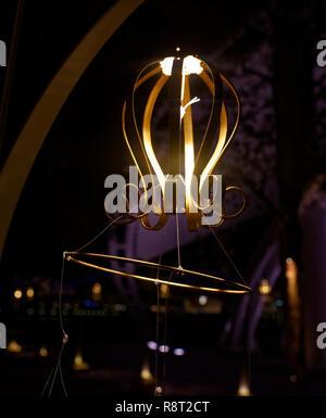 Shining designer Christmas light found along the Esplanade walk, Singapore - Stock Image