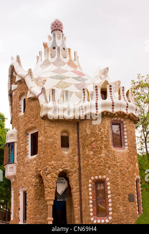The famous park Guell in Barcelona, Spain - Stock Image