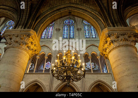 Interior of Cathedral Notre Dame, Paris France - Stock Image