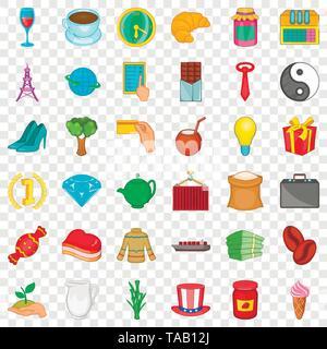 Bean icons set, cartoon style - Stock Image