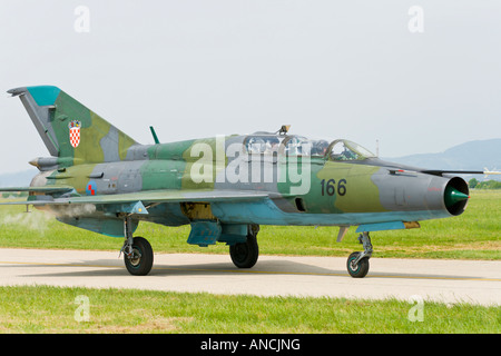 Croatian Air Force MiG-21 UMD '166' two seater trainer taxi after landing - Stock Image