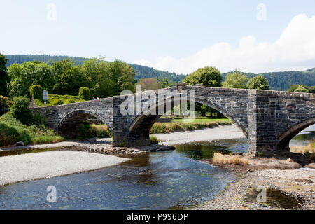 Pont Fawr bridge across the River Conwy, Llanrwst, Clwyd, Wales - Stock Image