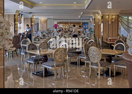 Hotel dining area based on the Chinese style to accommodate the prolific Chinese tourist trade in Pattaya Thailand - Stock Image