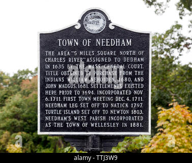 Information sign about the historic Town of Needham, Massachusetts, USA - Stock Image