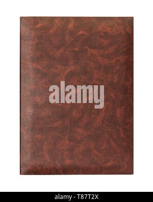 Front view of blank brown leather document folder isolated on white - Stock Image