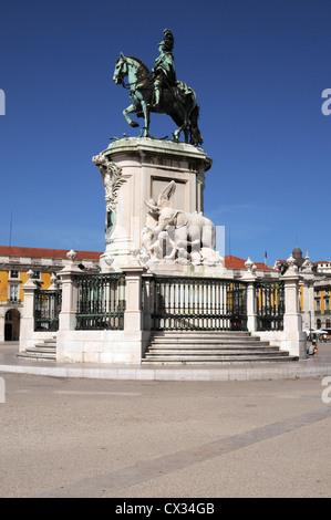 Dom Jose 1 (King Joao 1) statue in middle of Praca do Comercio, Lisbon, Portugal - Stock Image
