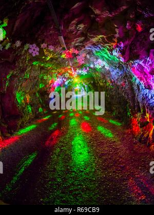 Colorful lights installation display underground tunnel in Rijeka in Croatia - Stock Image
