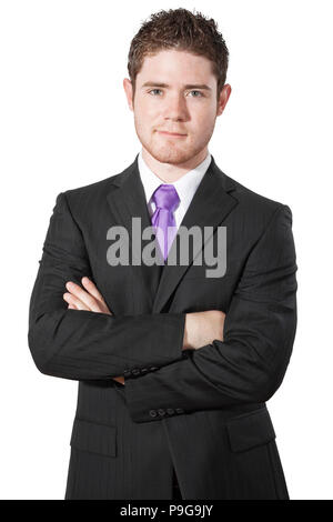 Stock image of Businessman with arms crossed isolated on white background - Stock Image