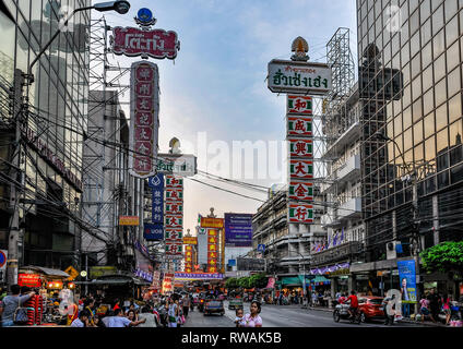Busy street life in Bangkok in Thailand - Stock Image