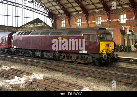 West coast railways class 57 diesel locomotive at Bristol temple meads station - Stock Image