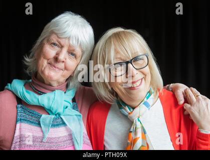 Portrait smiling, confident senior women friends - Stock Image