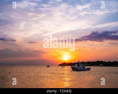 Thasos Island sunset in mid summer season - Stock Image