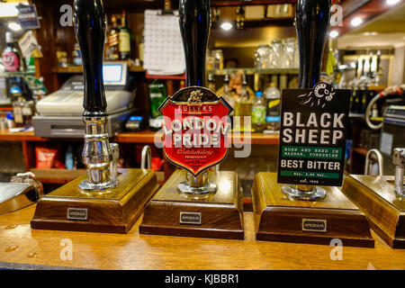 Public House, Beer Pumps, London Pride - The Eagle, Braintree - Stock Image