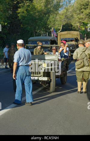 Willys MB and allied soldiers during the 74th Anniversary of Operation Dragoon, Provence, French Riviera (15 - 26 Aug 1944) - Stock Image
