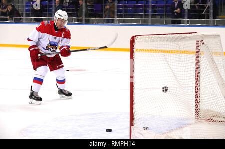 Sochi, Russia. 15th Feb, 2019. Russian President Vladimir Putin, #11, practices before playing in a friendly ice hockey match with Belarus President Alexander Lukashenko at the Shaiba Arena February 15, 2019 in Sochi, Russia. Credit: Planetpix/Alamy Live News - Stock Image