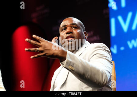 Hay Festival, Hay on Wye, Powys, Wales, UK - Thursday 30th May 2019 - David Lammy MP at the Hay Festival on stage talking about politics and his upcoming book Tribes as part of The Octavia Hill Lecture. Photo Steven May / Alamy Live News - Stock Image