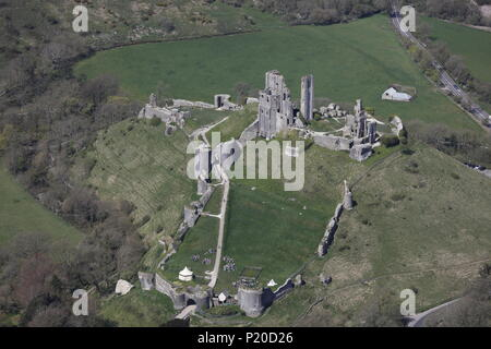 An aerial view of Corfe Castle, near Wareham, Dorset - Stock Image