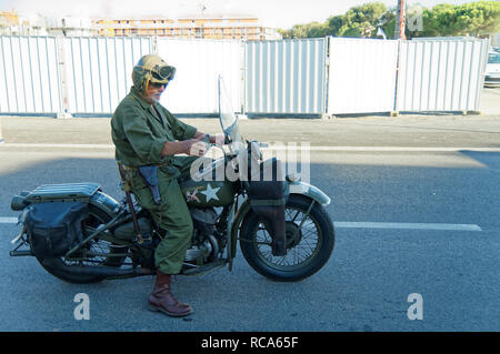 A 1942 Harley-Davidson WLA during the 74th Anniversary of Operation Dragoon, the Allied invasion of the French Riviera (15 - 26 August 1944) - Stock Image