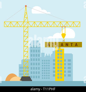 Atlanta Property Construction Shows Real Estate Residential Buying. Home Ownership In The United States 3d Illustration - Stock Image