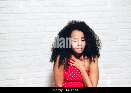 Sad Black Girl Young African American Woman Under Panic Attack - Stock Image