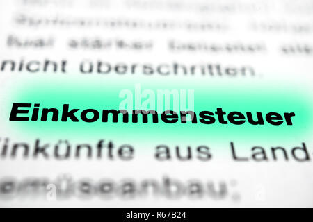 Text on page Income Tax highlight horizontal closeup - Stock Image