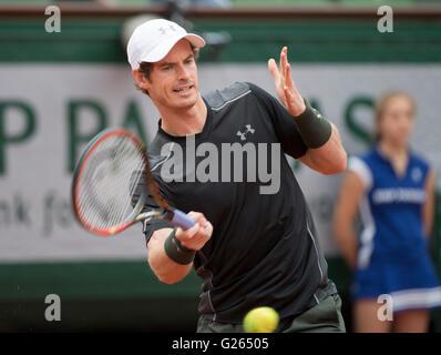 Paris. 24th May, 2016. Andy Murray (GBR) defeated Radek Stepanek (CZE) 3-6, 6-0, 6-3, 7-5, at the Roland Garros - Stock Image