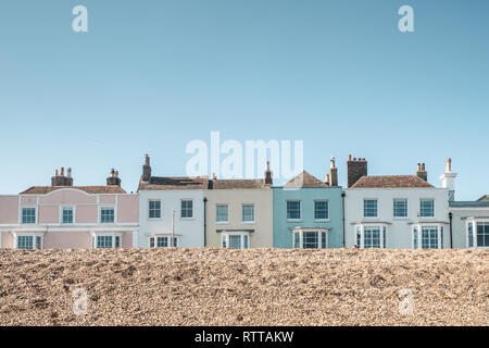 Houses on the Seafront, Deal, Kent, UK, taken from the Beach - Stock Image