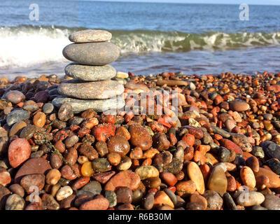 Zen Stones On The Beach - Stock Image