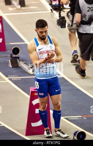 Glasgow, UK. 1st Mar, 2019. Owen Smith fails to qualify in 400m mens race on European Athletics Indoor Championships 2019. Credit: Pawel Pietraszewski/Alamy Live News - Stock Image