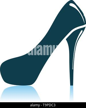 Female Shoe With High Heel Icon. Shadow Reflection Design. Vector Illustration. - Stock Image