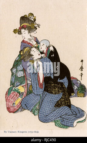 Painting by Utamaro Kitagawa (1753-1805) of two women, one with an infant on her back. - Stock Image