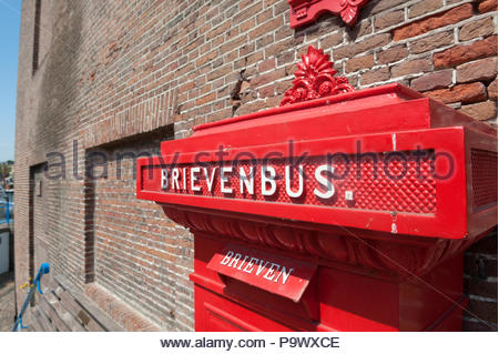 Maassluis The Netherlands Old fashioned style letter box Brievenbus. - Stock Image