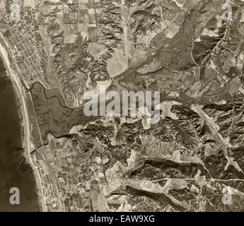 historical aerial photograph Encinitas, Solana Beach, San Diego County, California, 1947 - Stock Image