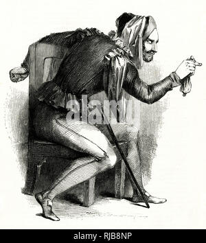 Illustration by Kenny Meadows to The Merry Wives of Windsor, by William Shakespeare. Mr Ford disguised as Mr Brook, jealous of Falstaff's interest in his wife. - Stock Image