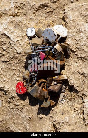 Memorial love padlocks at the Love Bridge, Ayia Napa, Cyprus October 2018 - Stock Image