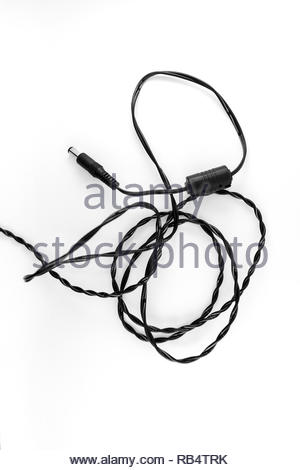 black cable adapter isolated white background - Stock Image