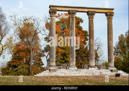 What's left of the Green Hills Mansion at Elmendorf Farm in Lexington Kentucky (USA) - Stock Image