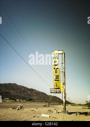 Neon sign for the abandoned Motel along Route 66. Newberry Springs, California - Stock Image