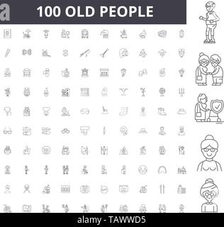 Old people line icons, signs, vector set, outline illustration concept  - Stock Image