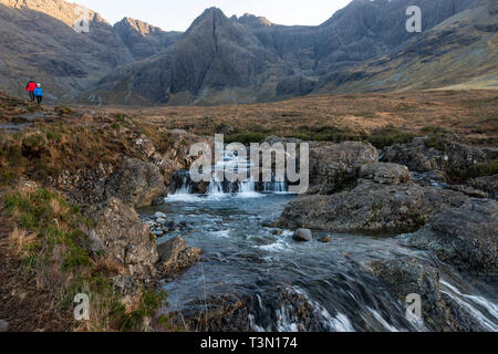 Fairy Pools on the River Brittle with the Cuillin Hills in the background, Isle of Skye, Highland Region, Scotland, UK - Stock Image